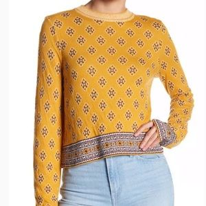 Free People New Age Yellow Cropped sweater small